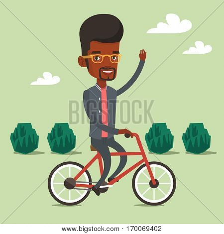 An african-american man riding a bicycle in the park. Cyclist riding a bicycle and waving his hand. Man on a bicycle outdoors. Healthy lifestyle concept. Vector flat design illustration. Square layout