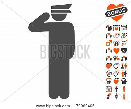 Police Officer pictograph with bonus lovely images. Vector illustration style is flat iconic elements for web design app user interfaces.