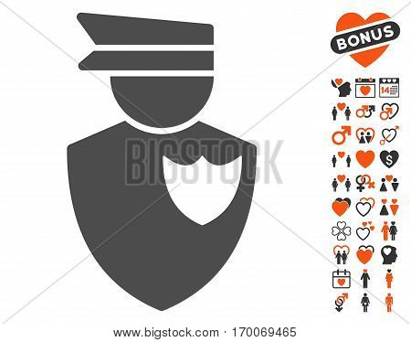 Policeman icon with bonus decorative symbols. Vector illustration style is flat iconic elements for web design app user interfaces.