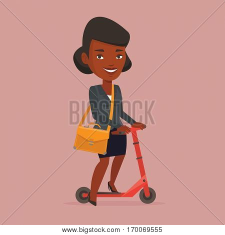African-american business woman riding a kick scooter. Business woman with briefcase riding to work on kick scooter. Business woman on a kick scooter. Vector flat design illustration. Square layout.