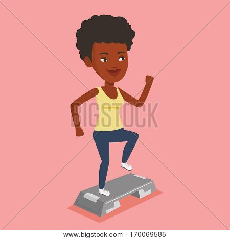 Woman doing step exercises. An african woman training with stepper in the gym. Woman working out with stepper in the gym. Girl standing on stepper. Vector flat design illustration. Square layout.