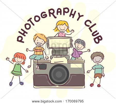 Stickman Illustration Featuring Kids Standing Around a Giant Vintage Camera