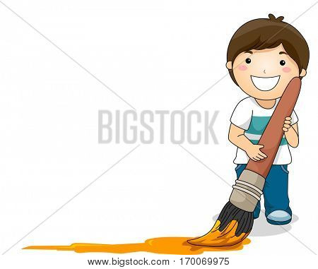 Illustration of a Smiling Little Boy Dragging a Wet Paintbrush Across the Floor