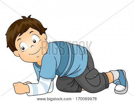 Illustration of a Cute Little Boy in Striped Shirts and Cargo Pants Crawling on All Fours