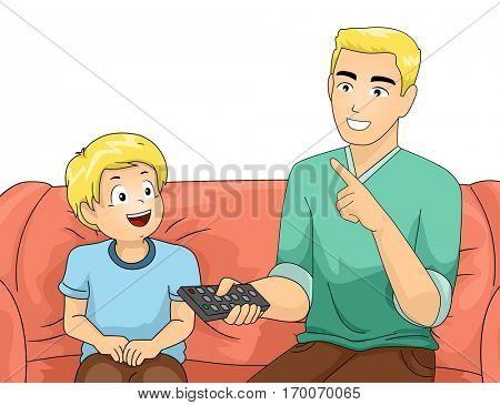 Illustration of a Father and Son Sitting on the Couch as the Dad Teaches His Son How to Use the Remote Control