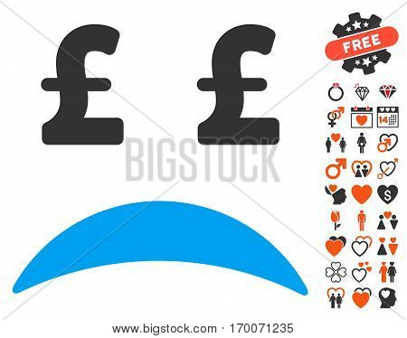 Pound Bankrupt Sad Emotion icon with bonus lovely pictures. Vector illustration style is flat iconic elements for web design app user interfaces.
