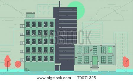 City Street stroke style illustration skyskrapers navy palette
