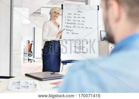 Mature businesswoman giving presentation using flipchart at office