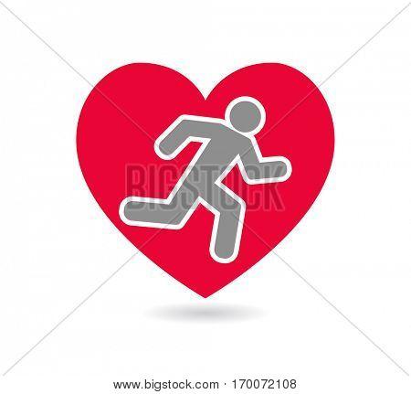 running man inside heart symbol - icon