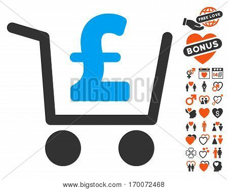 Pound Checkout pictograph with bonus dating icon set. Vector illustration style is flat iconic elements for web design app user interfaces.