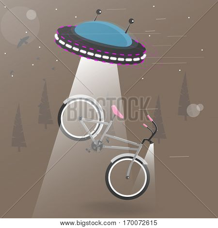 Alien flying with lights took the bike. Funny cartoon vector illustration. Background for brochure or flyers.