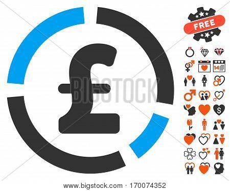 Pound Financial Diagram icon with bonus dating symbols. Vector illustration style is flat iconic symbols for web design app user interfaces.