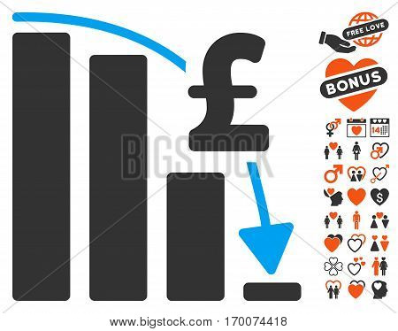 Pound Financial Epic Fail icon with bonus decoration images. Vector illustration style is flat iconic elements for web design app user interfaces.