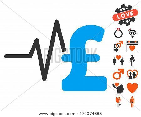 Pound Financial Pulse icon with bonus marriage symbols. Vector illustration style is flat iconic symbols for web design app user interfaces.