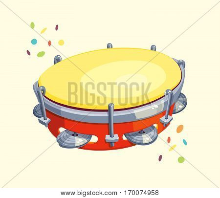 Tambourine with Confetti - Vector cartoon for carnival or music themes.
