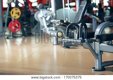 Training apparatus in modern gym, closeup
