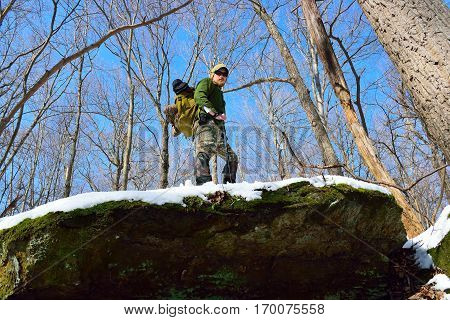 Man Hiking In The Appalachian Mountains Of Pennsylvania