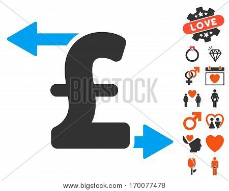Pound Payouts icon with bonus decoration clip art. Vector illustration style is flat iconic symbols for web design app user interfaces.