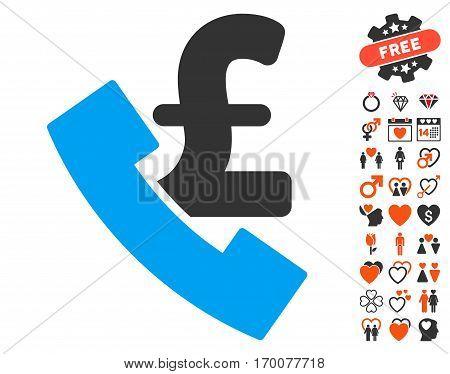 Pound Payphone icon with bonus valentine design elements. Vector illustration style is flat iconic symbols for web design app user interfaces.