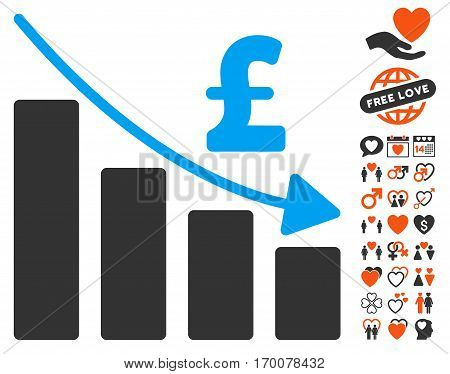 Pound Recession Bar Chart pictograph with bonus romantic icon set. Vector illustration style is flat iconic elements for web design app user interfaces.