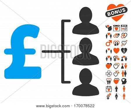 Pound Recipients icon with bonus romantic design elements. Vector illustration style is flat iconic symbols for web design app user interfaces.