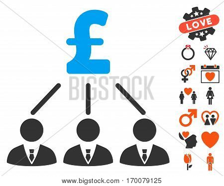 Pound Shareholders pictograph with bonus romantic symbols. Vector illustration style is flat iconic elements for web design app user interfaces.