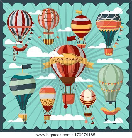 Bon Voyage air balloons in white clouds vector collection. Ballons for people to fly in sky and observe city view. Flying mean of transportation decorated with ladder and flags on striped background