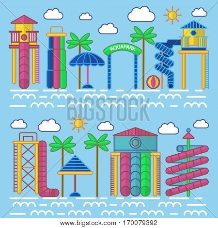 Aquapark entertainment equipments vector poster with blue background. Colourful collection of water tubes and slides, green palms, special umbrellas, white clouds and suns icons in flat style