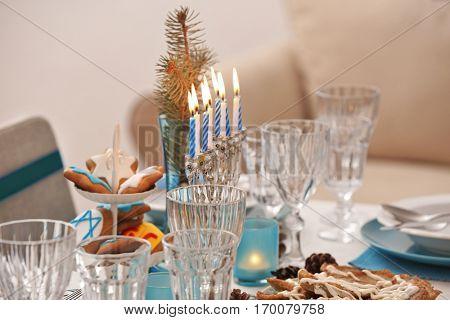 Beautiful table setting for Hanukkah, closeup