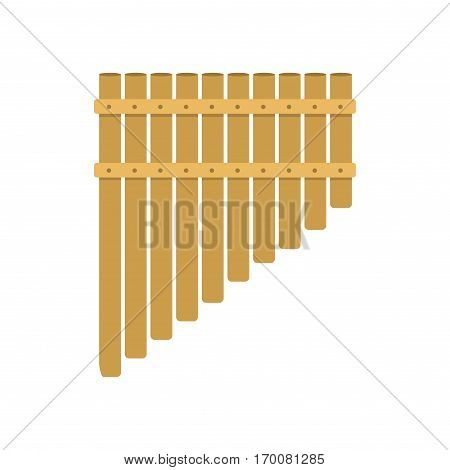 Handmade music folk instrument panpipe flute vector illustration. American sound traditional wind wood culture peruvian. Bamboo pipe blow exotic tradition.