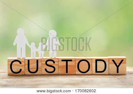 Word CUSTODY made of wooden blocks on table against blurred background, closeup