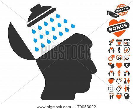 Propaganda Brain Shower icon with bonus decorative clip art. Vector illustration style is flat iconic symbols for web design, app user interfaces.