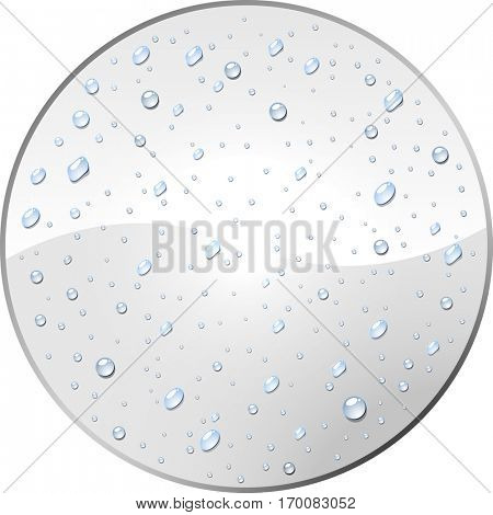 White round label with dew drops vector template. Blank circle tag covered with water droplets.
