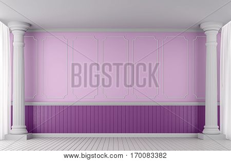 Empty wall classic style 3d rendering image.A blank wall with pink and purple decorated with Doric columns and white Skirtings