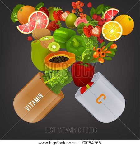 High vitamin C foods. Healthy fruits, berries and vecetables in an open pill. Vector illustration in bright colours on a dark grey background.