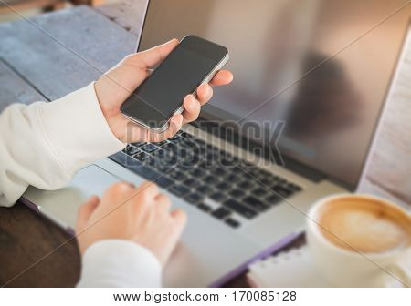 Woman surfing the internet with wireless gadget stock photo