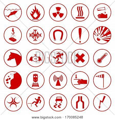 Set of warning and danger signs. Caution icons. Collection of attention symbols and hazard signals. Vector illustration isolated on white