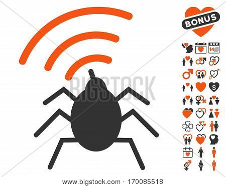Radio Spy Bug pictograph with bonus love symbols. Vector illustration style is flat iconic symbols for web design, app user interfaces.