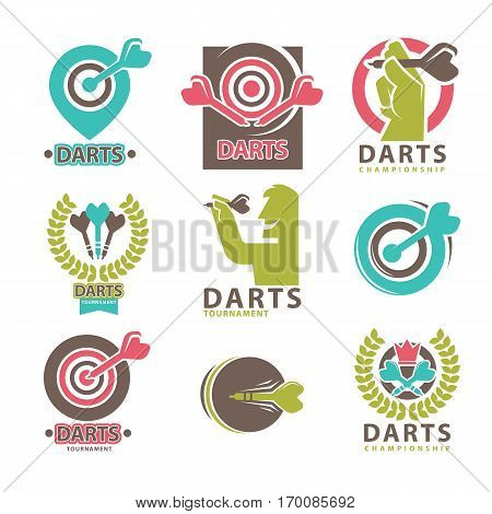Darts tournament and championship emblems collection on white. Vector poster of man throwing special sharp sticks in target, dart sticks in wreath and other design label logo elements in flat style