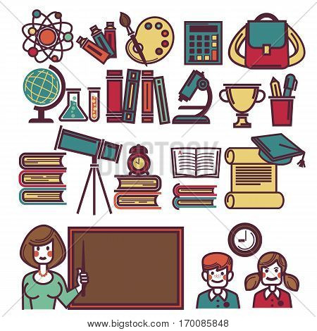 School and education objects poster with teacher and children on white. School necessary supplies and workplace accessory infographic items above female teacher near blackboard and two pupils