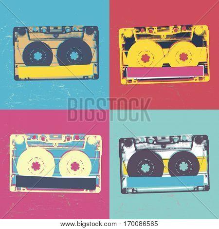 Audiocassette retro popart music seamless background. Audiocassette illustration pop-art seamless pattern. Retro audio cassettes, pop art style, seamless. Vintage styled retro music seamless pattern poster
