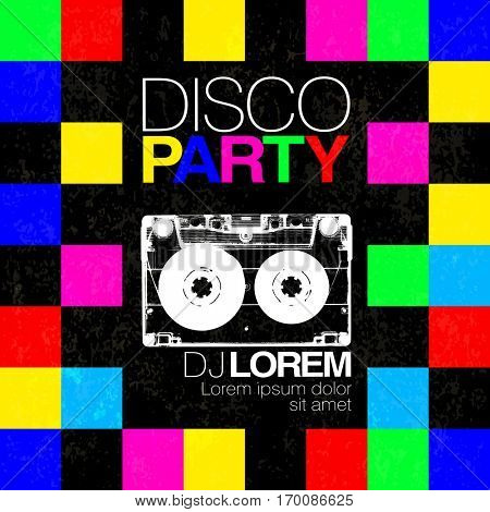 Disco poster or flyer design vintage template on colorful squary background