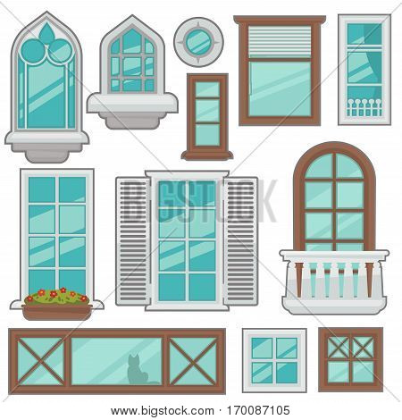 Vector windows collection of various types. For interior and exterior design use. Flat style.