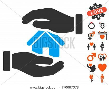 Realty Insurance icon with bonus decorative design elements. Vector illustration style is flat iconic symbols for web design, app user interfaces.