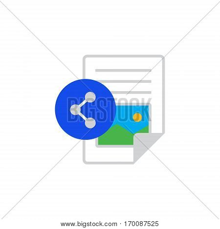Vector icon or illustration showing web site content with text file and share sign in material design style