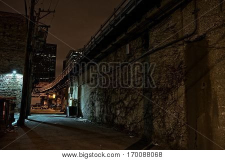 Dark vintage urban city alley at night