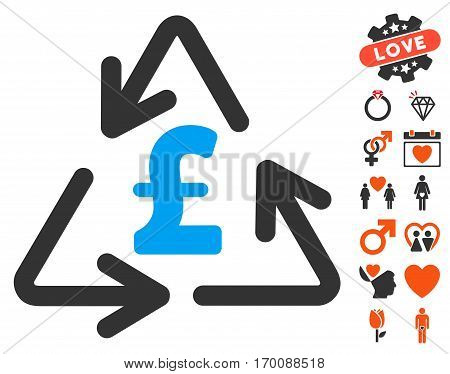 Recycling Pound Cost pictograph with bonus decoration pictograph collection. Vector illustration style is flat iconic symbols for web design, app user interfaces.