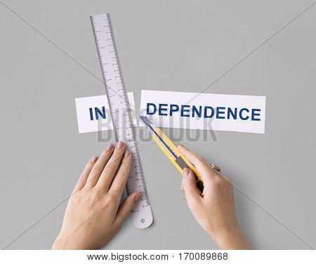 Independence Freedom Hand Cut Word Split Concept