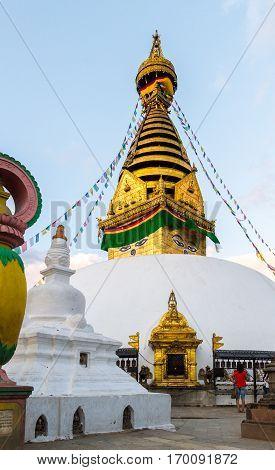 Golden view of Swayambhunath Stupa Kathmandu ,Nepal.