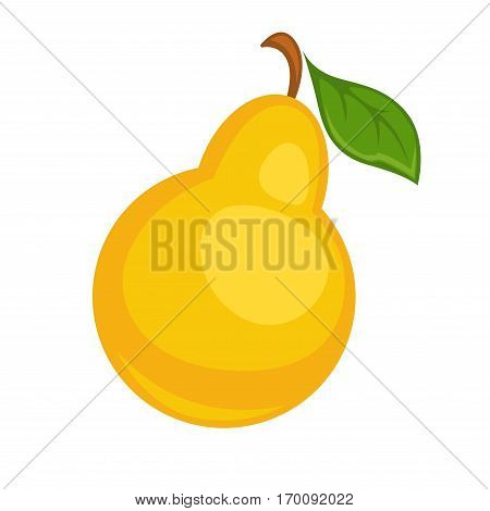 Pear fruit isolated on white background. Wild pear with leaf can be used for culinary purposes. Yellow ripe tasty berry realistic vector illustration. Organic cartoon fruit in flat style